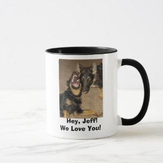Mug Hurlement de chiot,    hé, Jeff ! Nous vous aimons
