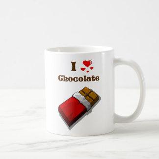 Mug I chocolat de coeur avec la barre