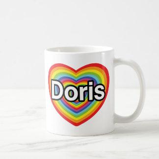 Mug J'aime Doris : coeur d'arc-en-ciel