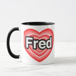 Mug J'aime Fred. Je t'aime Fred. Coeur