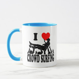 Mug J'aime la foule surfant (mâle) (le noir)