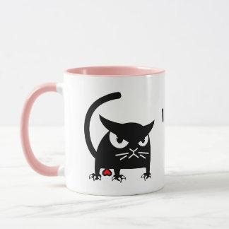Mug Je t'aime le chat noir drôle attaque | Badd Gato