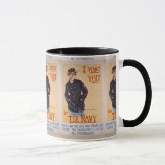 """Mug """"Je vous veux"""" affiche recruteuse de marine de la"""
