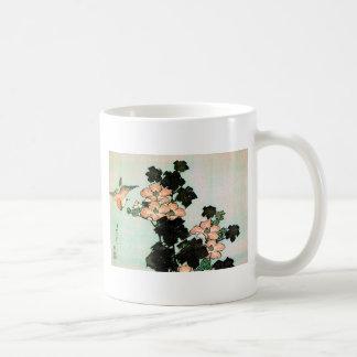 Mug Katsushika Hokusai (葛飾北斎) - ketmie et moineau