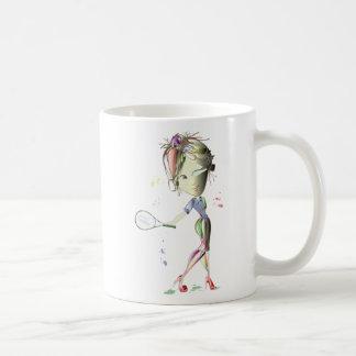 Mug La fille de Mlle-ajustement joue au tennis !