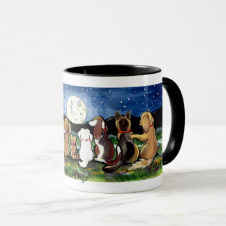 """Mug La """"lune poursuit"""" des amis de chien observant la"""