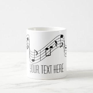 Mug La musique blanche noire simple note le nom fait