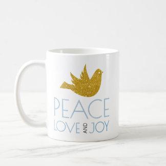 Mug La paix, amour, aquarelle de joie, or a plongé