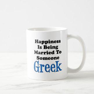 Mug Le bonheur est marié à quelqu'un grec