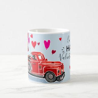 Mug Le camion vintage de Valentine ajoutent le nom