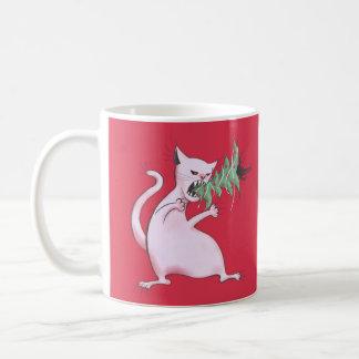 Mug Le gros chat blanc drôle mange l'arbre de Noël