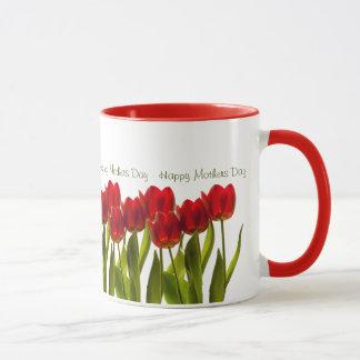 Mug Le jour de mère - rangée des tulipes lumineuses de