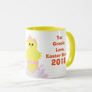 Mug Le poussin de vert de rose de lapin de Pâques Eggs