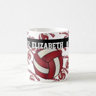 Mug Le volleyball rouge foncé | personnalisent