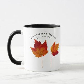 Mug Les couples reconnaissants de feuille d'automne