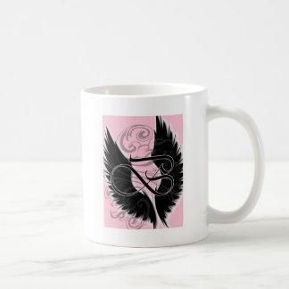 Mug Lettre noire noire du monogramme B d'aile