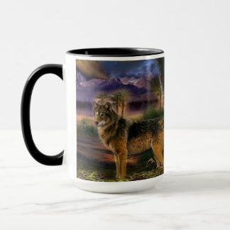 Mug Loup coloré dans la forêt