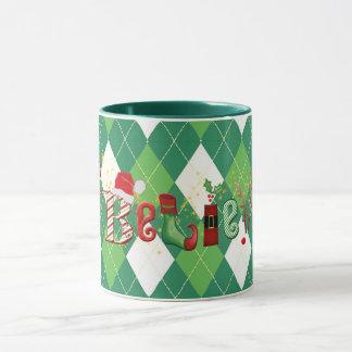 Mug Lunatique Jacquard CROYEZ, de vert et de blanc