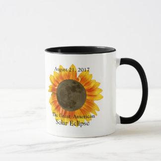 Mug Lune et tournesol de l'éclipse 2017 solaire