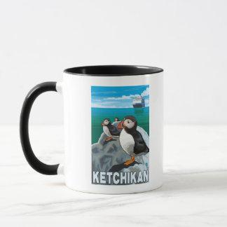 Mug Macareux et bateau de croisière - Ketchikan,