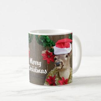 Mug Mâle drôle de cerf de Virginie de Joyeux Noël