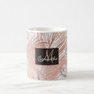 Mug Marbre rose de feuille de palmier d'or de faux