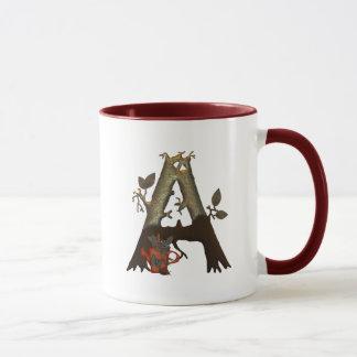 Mug Monogramme A d'arbre d'automne