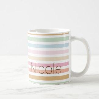 Mug monogramme fin moderne de couleurs en pastel