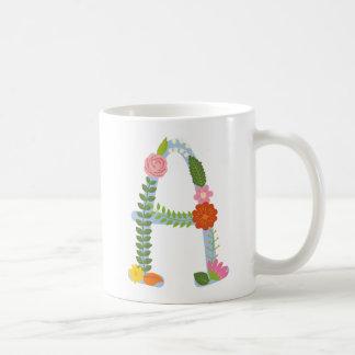 Mug Monogramme lunatique rustique de fleur (a)