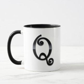 Mug Monogramme noir de lustre - Q