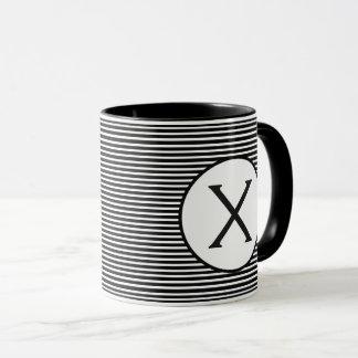 Mug Monogramme noir de rayure
