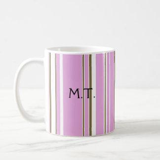 Mug Monogramme rose de rayure de Brown