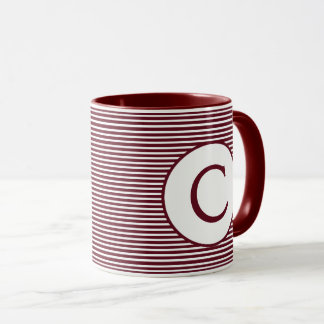 Mug Monogramme rouge marron de rayure
