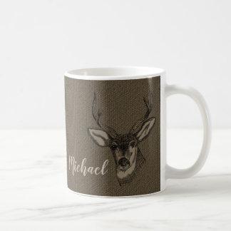 Mug Monogramme rustique du nom | de tête de cerfs