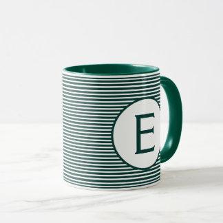 Mug Monogramme vert de rayure de pin