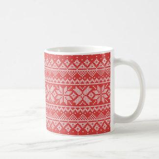 Mug Motif blanc et rouge de Noël de flocon de neige de