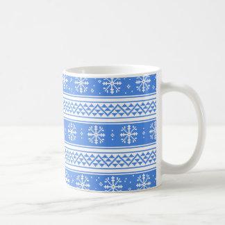 Mug Motif bleu et blanc de flocon de neige d'hiver