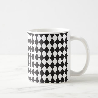 Mug Motif de harlequin de diamant en noir et blanc