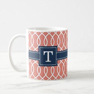 Mug Motif décoré d'un monogramme de trellis de rose de