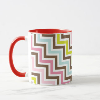 Mug Motif diagonal de Chevron de zigzag de couleurs