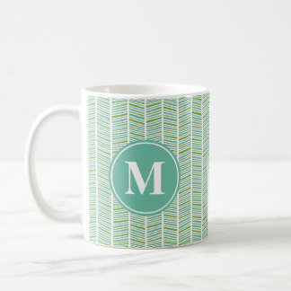 Mug Motif en arête de poisson vert et bleu avec le