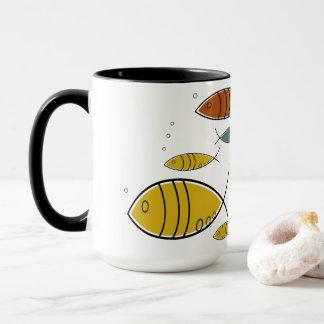 Mug Motif moderne de natation de poissons de la moitié