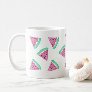 Mug Motif rose et vert de pastèque d'aquarelle de