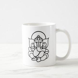 Mug No. 3 (blanc noir) d'éléphant de Ganesha