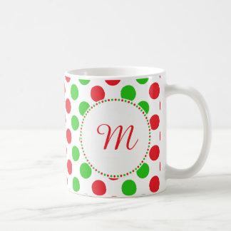 Mug Noël rouge et vert de monogramme de polka de point