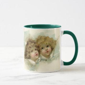 Mug Noël vintage, anges victoriens dans les nuages