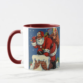Mug Noël vintage, la cheminée W du père noël vers le