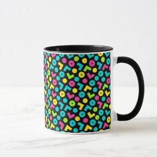 Mug noir des années 80/années 90 et motif de néon