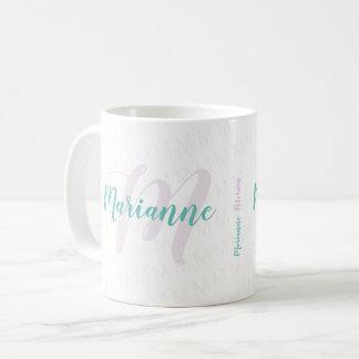 Mug nom décoré d'un monogramme/monogramme de