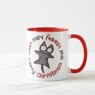 Mug Nouvelle année de Noël tigré et bicolore de chat